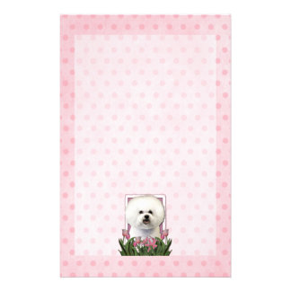 Mothers Day - Pink Tulips - Bichon Frise Stationery