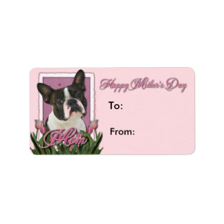 Mothers Day - Pink Tulips - Boston Terrier Address Label