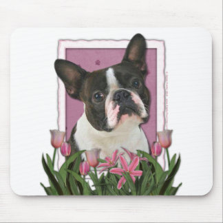 Mothers Day - Pink Tulips - Boston Terrier Mouse Pad