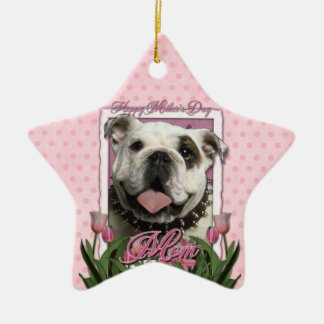Mothers Day - Pink Tulips - Bulldog Christmas Tree Ornaments