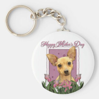 Mothers Day - Pink Tulips - Chihuahua Keychains