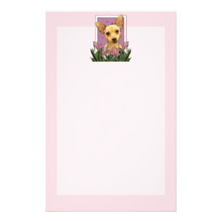 Mothers Day - Pink Tulips - Chihuahua Custom Stationery
