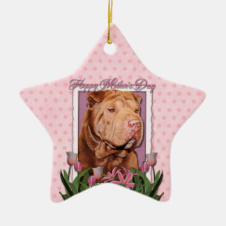 Mothers Day - Pink Tulips - Chinese Shar Pei Lucky Christmas Ornaments