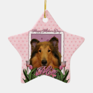 Mothers Day - Pink Tulips - Collie - Natalie Christmas Ornament