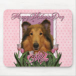 Mothers Day - Pink Tulips - Collie - Natalie Mouse Pad