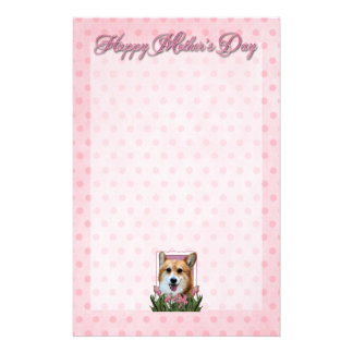 Mothers Day - Pink Tulips - Corgi - Owen Stationery Design