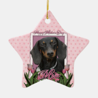 Mothers Day - Pink Tulips - Dachshund - Winston Christmas Ornament