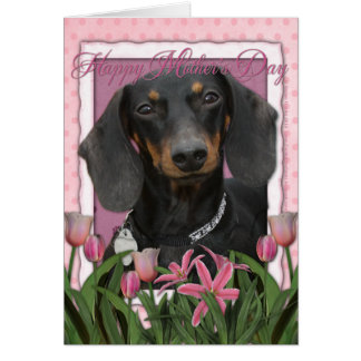 Mothers Day - Pink Tulips - Dachshund - Winston Greeting Card