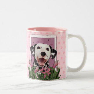 Mothers Day - Pink Tulips - Dalmatian Two-Tone Mug