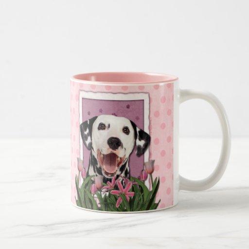 Mothers Day - Pink Tulips - Dalmatian Mug