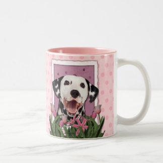 Mothers Day - Pink Tulips - Dalmatian Two-Tone Mug