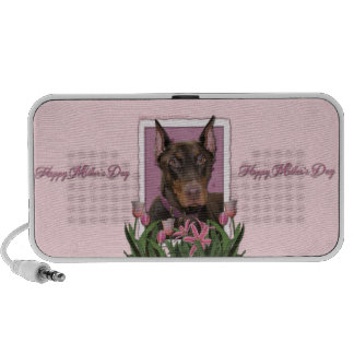 Mothers Day - Pink Tulips - Doberman - Red - Rocky Travelling Speaker