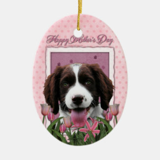Mothers Day - Pink Tulips English Springer Spaniel Christmas Tree Ornament