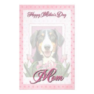 Mothers Day - Pink Tulips Entlebucher Mountain Dog Custom Stationery