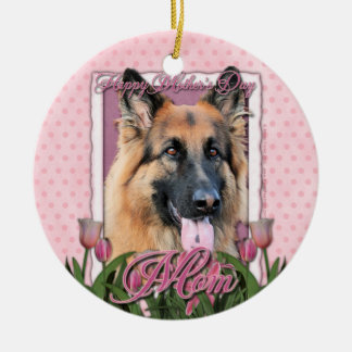 Mothers Day - Pink Tulips - German Shepherd Chance Christmas Tree Ornaments