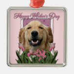 Mothers Day - Pink Tulips -Golden Retriever Mickey