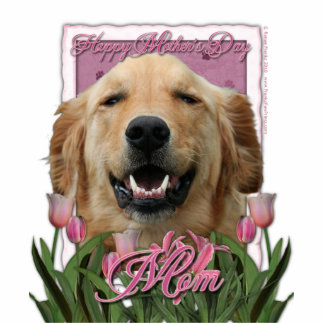 Mothers Day - Pink Tulips - Golden Retriever Cut Outs