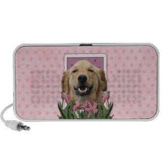 Mothers Day - Pink Tulips - Golden Retriever Travelling Speaker