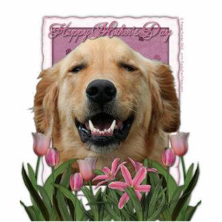 Mothers Day - Pink Tulips - Golden Retriever Standing Photo Sculpture