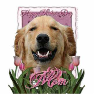 Mothers Day - Pink Tulips - Golden Retriever Standing Photo Sculpture