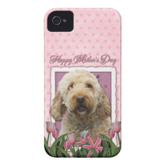 Mothers Day - Pink Tulips - GoldenDoodle iPhone 4 Covers
