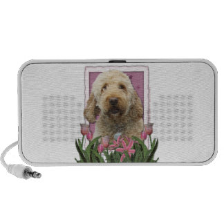 Mothers Day - Pink Tulips - GoldenDoodle Portable Speakers