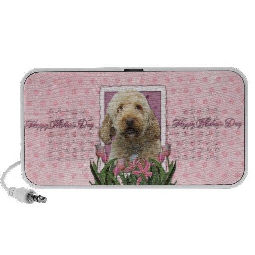 Mothers Day - Pink Tulips - GoldenDoodle iPod Speakers