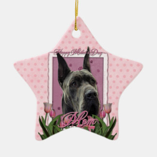 Mothers Day - Pink Tulips - Great Dane - Grey Ornaments
