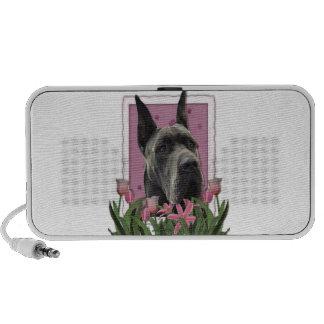 Mothers Day - Pink Tulips - Great Dane - Grey Laptop Speaker