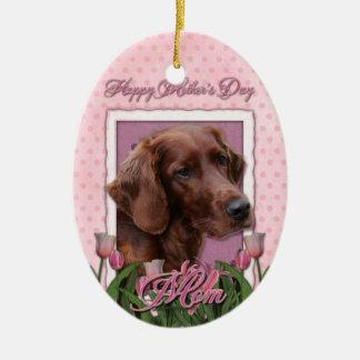 Mothers Day - Pink Tulips - Irish Setter Christmas Ornaments