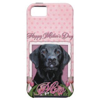 Mothers Day - Pink Tulips - Labrador - Black - Gag iPhone 5 Case