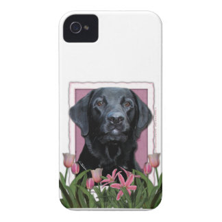Mothers Day - Pink Tulips - Labrador - Black - Gag iPhone 4 Case