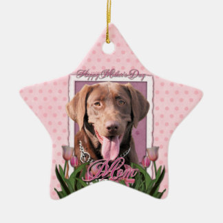 Mothers Day - Pink Tulips - Labrador - Chocolate Christmas Tree Ornaments