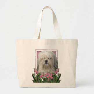 Mothers Day - Pink Tulips - Lowchen Large Tote Bag