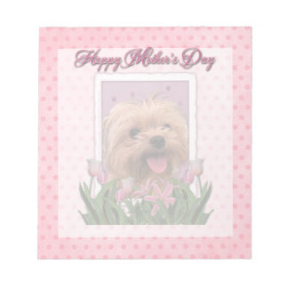 Mothers Day - Pink Tulips - Morkie - Lacey Notepad