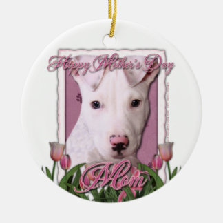 Mothers Day - Pink Tulips - Pitbull Puppy - Petey Ornaments