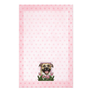 Mothers Day - Pink Tulips - Pitbull - Tigger Customized Stationery
