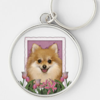 Mothers Day - Pink Tulips - Pomeranian Keychains