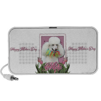 Mothers Day - Pink Tulips - Poodle - White iPod Speakers
