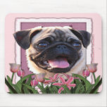 Mothers Day - Pink Tulips - Pug Mouse Mats