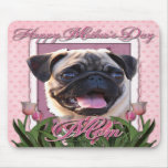 Mothers Day - Pink Tulips - Pug Mousemats