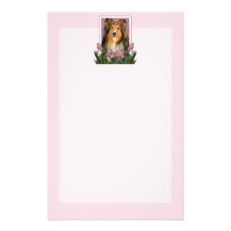 Mothers Day - Pink Tulips - Sheltie Customized Stationery