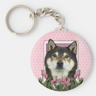Mothers Day - Pink Tulips - Shiba Inu - Yasha Key Chains