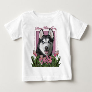 Mothers Day - Pink Tulips - Siberian Husky Baby T-Shirt