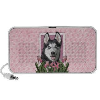 Mothers Day - Pink Tulips - Siberian Husky Travelling Speaker