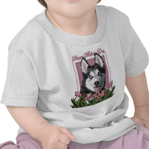 Mothers Day - Pink Tulips - Siberian Husky Shirt