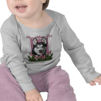 Mothers Day - Pink Tulips - Siberian Husky T-shirts