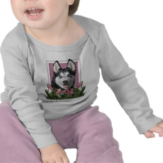 Mothers Day - Pink Tulips - Siberian Husky Tshirts