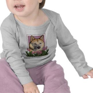 Mothers Day - Pink Tulips - Siberian Husky T Shirt