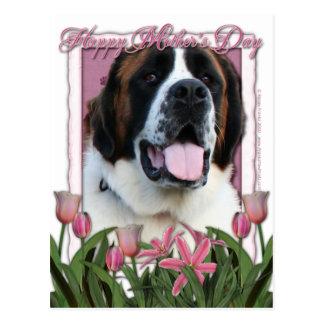 Mothers Day - Pink Tulips - St Bernard - Mae Postcard